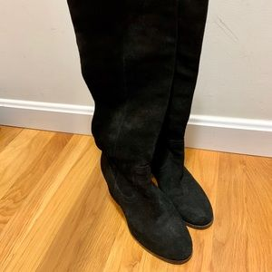 Steve Madden over the knee black suede boots.